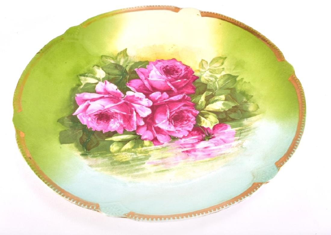 Hand Painted Green w/Pink Roses Decorative Plate - 2