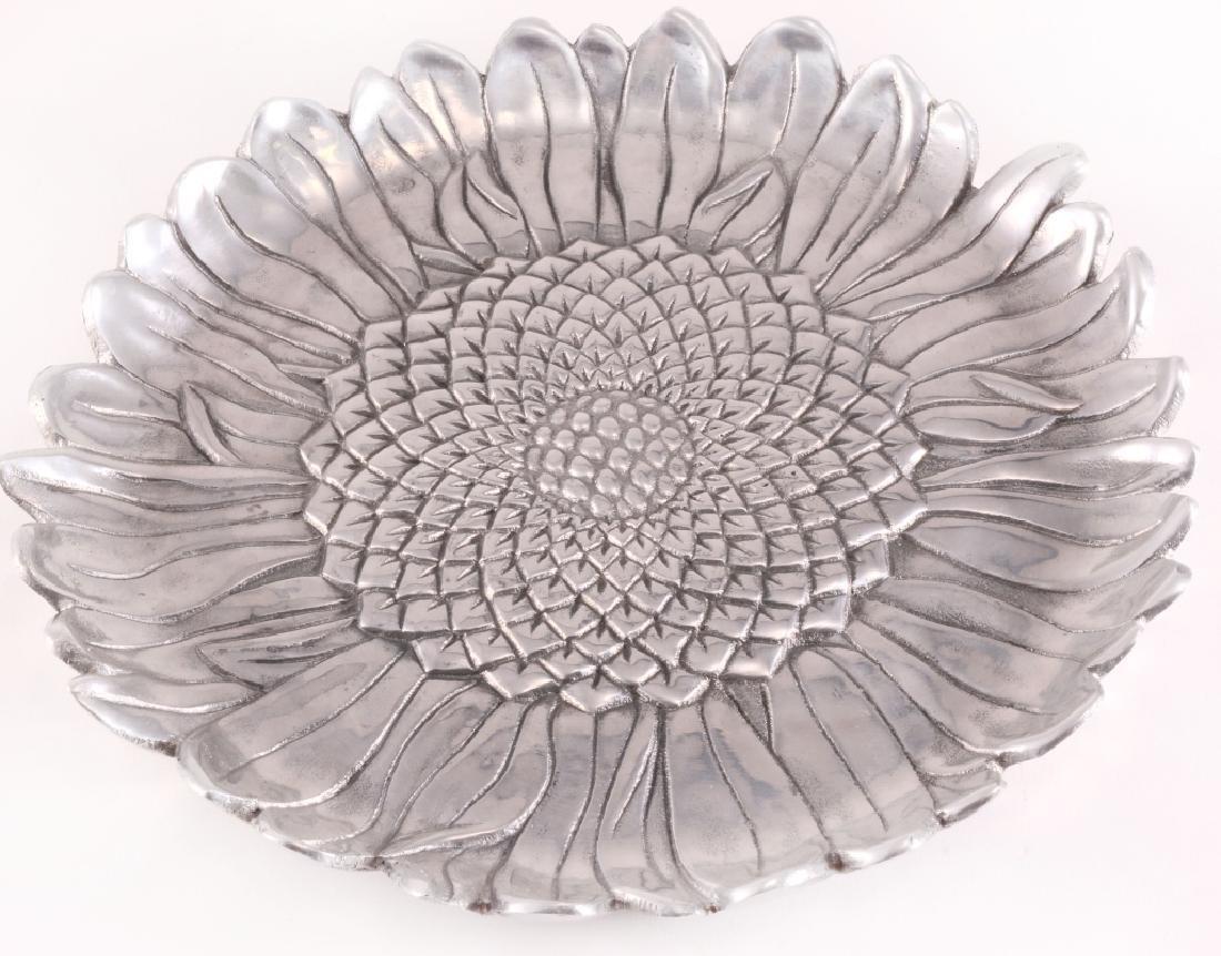 Arthur Court Aluminum Hollowware Sunflowers Plate
