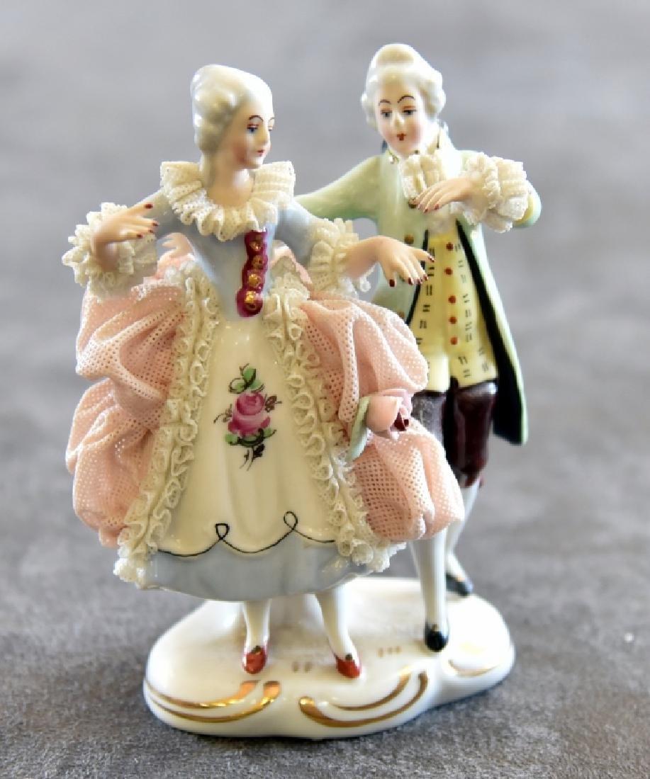 Ceramic Lace Victorian Dancing Couple Figurine