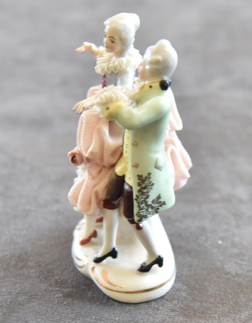 Ceramic Lace Victorian Dancing Couple Figurine - 2