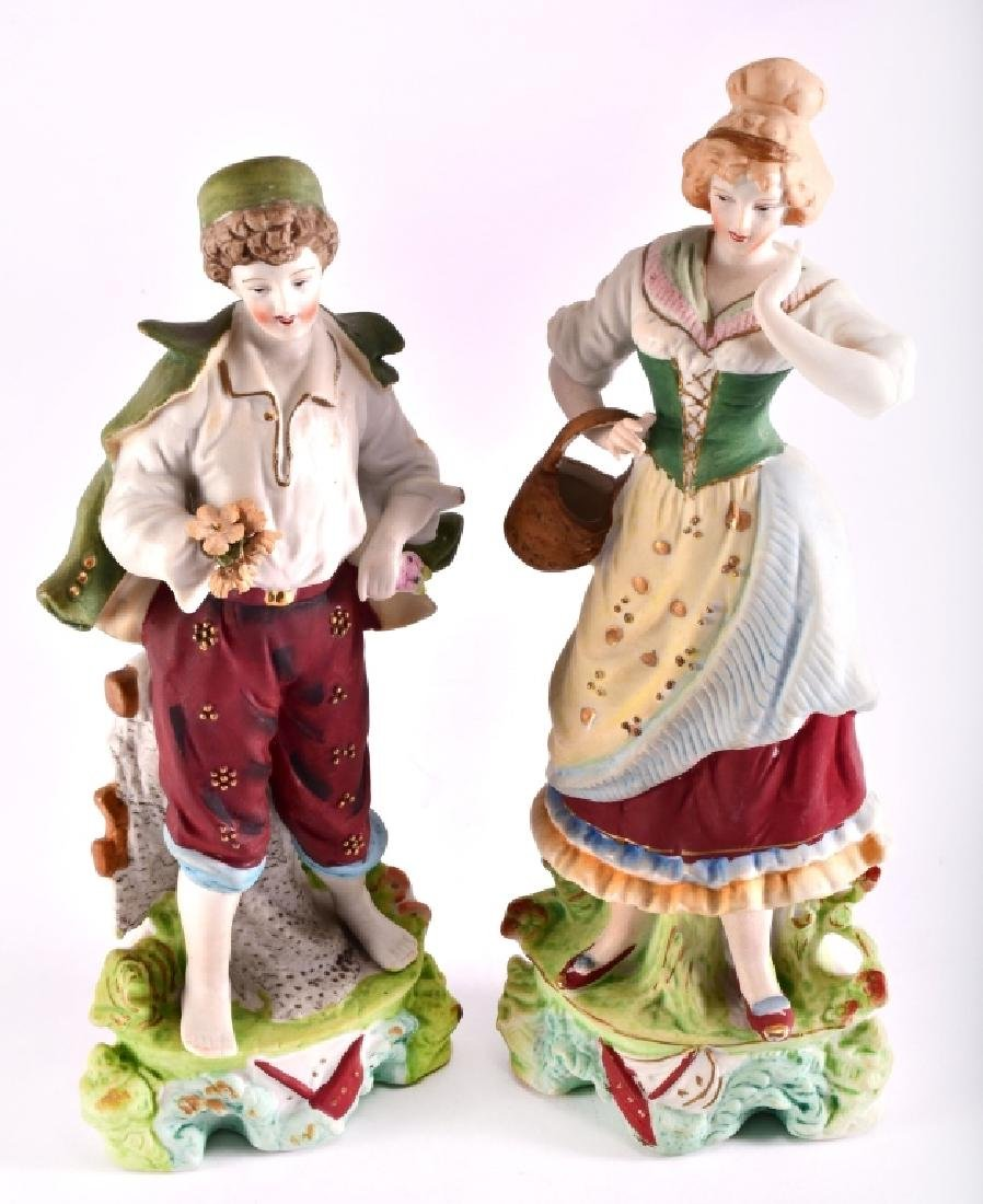 Ceramic Woman w/Basket & Man W/Flowers Figurines