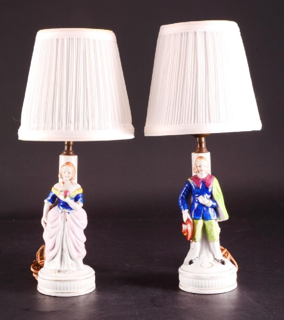 Pair of Vintage Ceramic Vanity Lamps