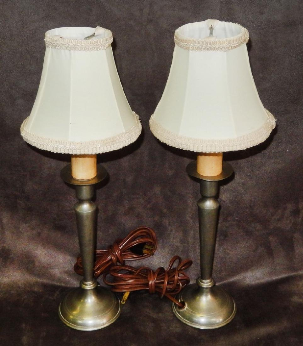 Pair of Vintage Pewter Electric Candle Stick Lamps
