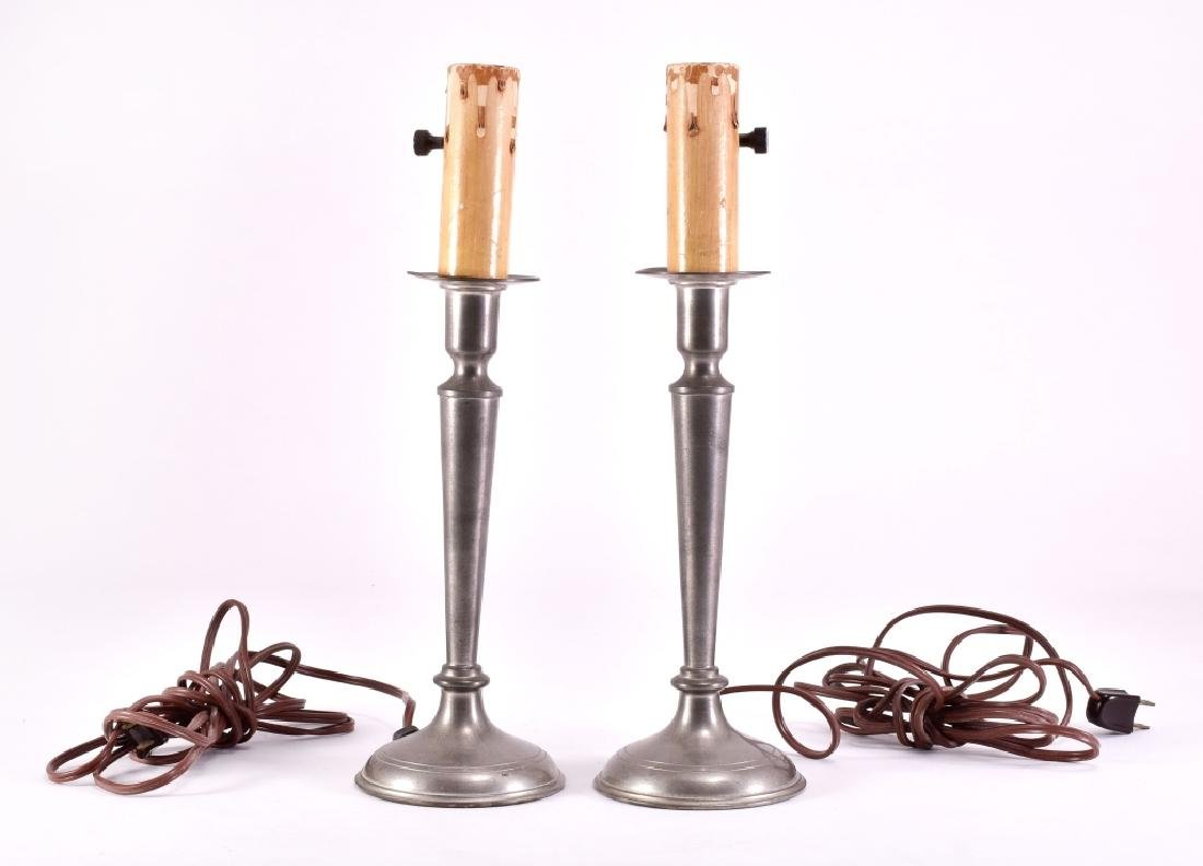 Pair of Vintage Pewter Electric Candle Stick Lamps - 2