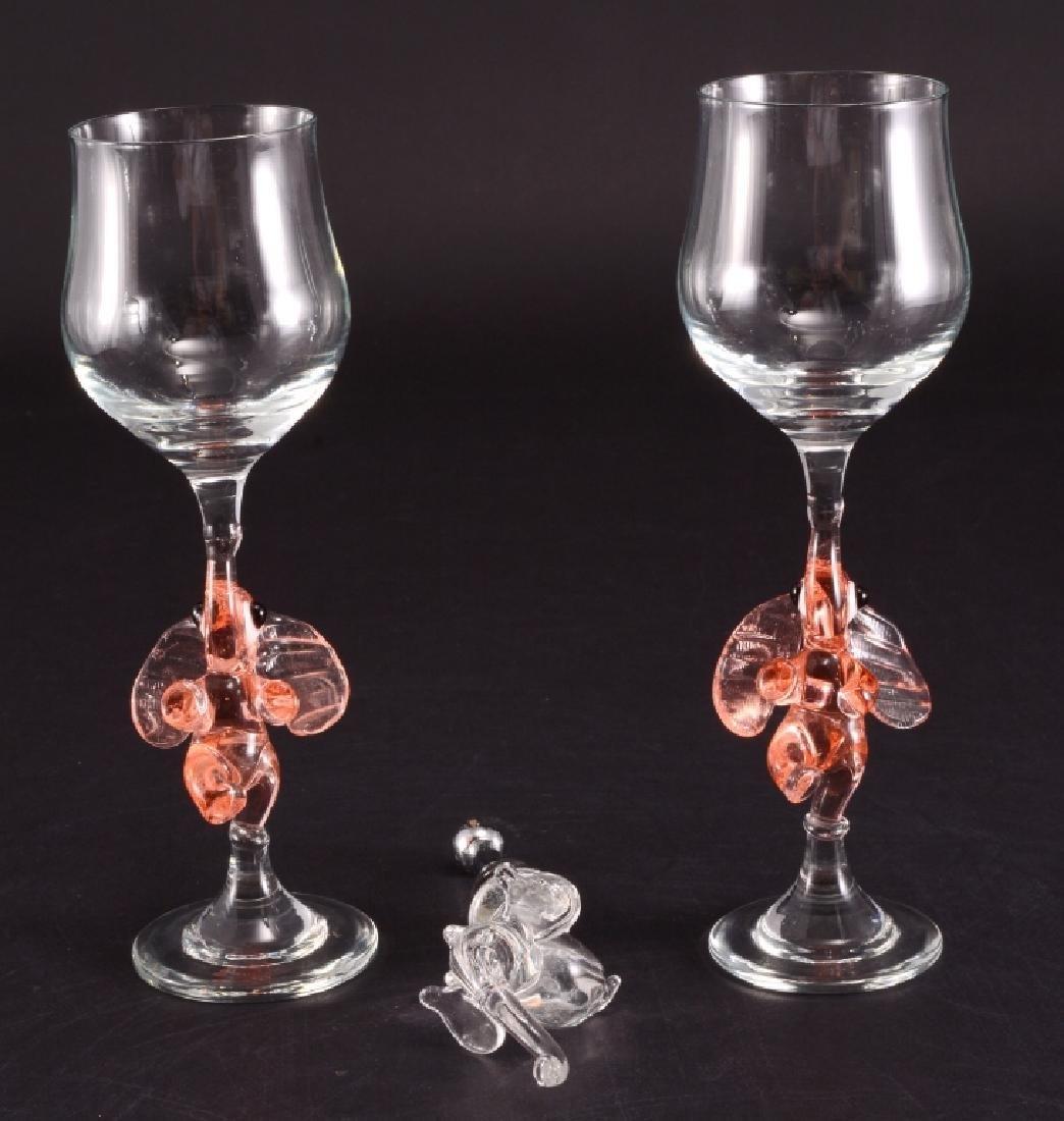 Pair Elephant Stem Wine Glasses & Bottle Stopper