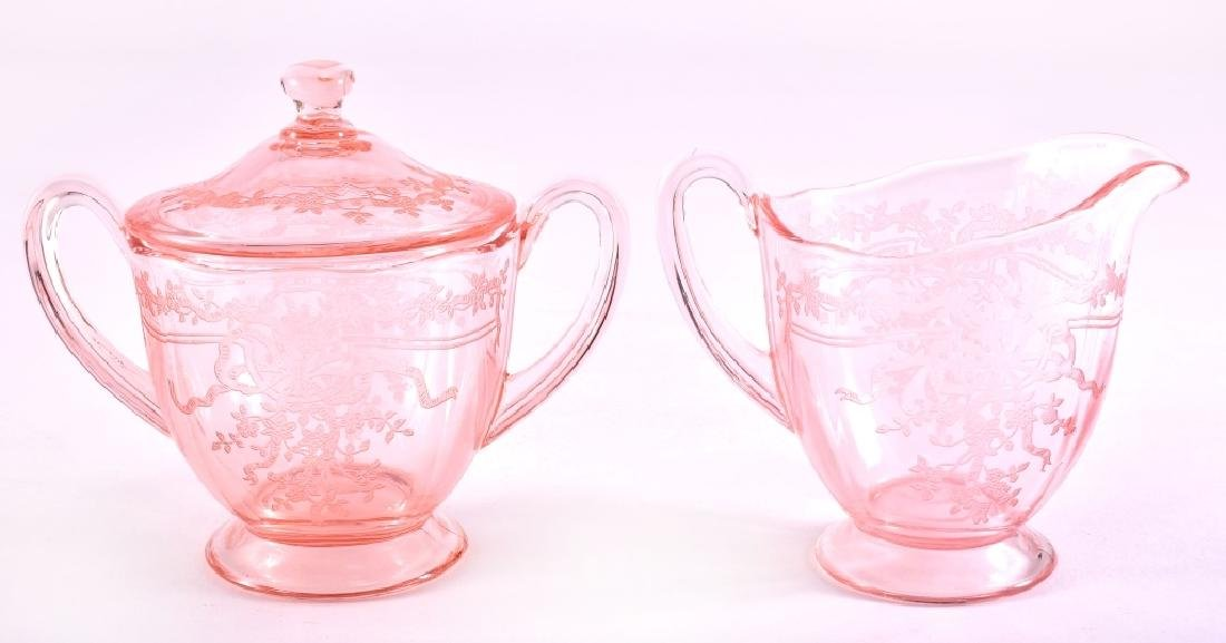 "Fostoria ""June Pink"" Cream & Covered Sugar"