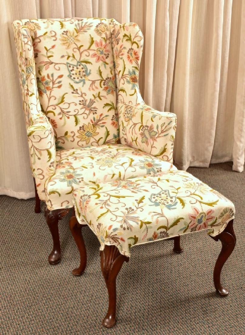 Antique Queen Anne Wing Chair & Ottoman