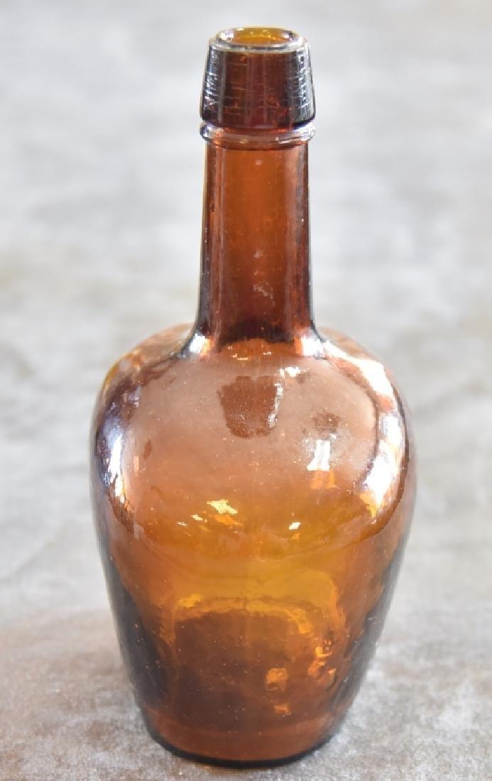Vintage Amber Glass Bottle - 2