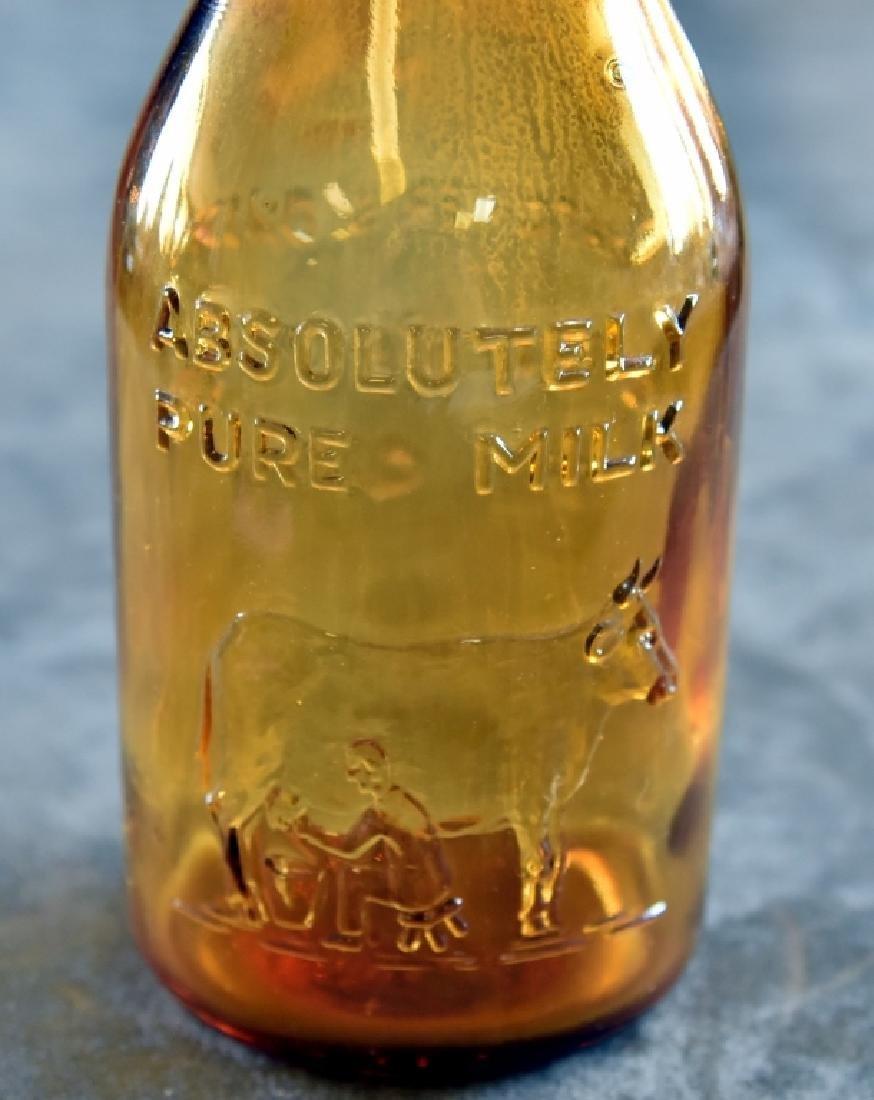 Vintage Amber Glass Milk Bottle w/Ceramic Stopper - 3