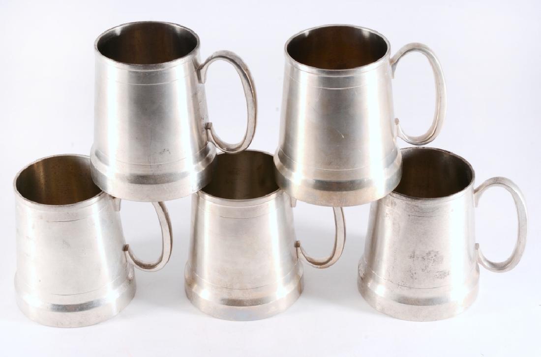 5 Vintage Selangor Pewter Mugs