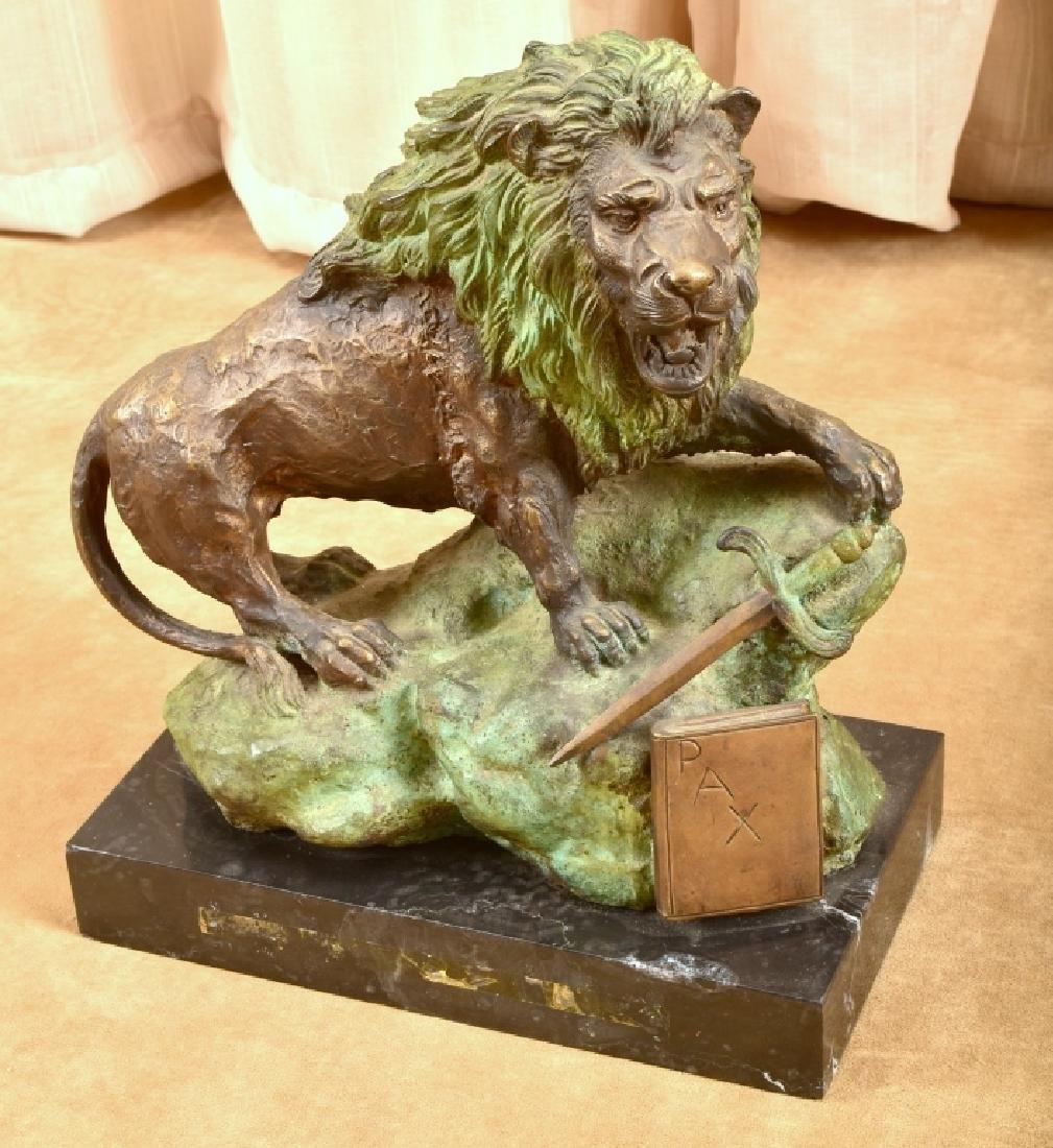 Ferdinando De Luca Bronze Lion Statue