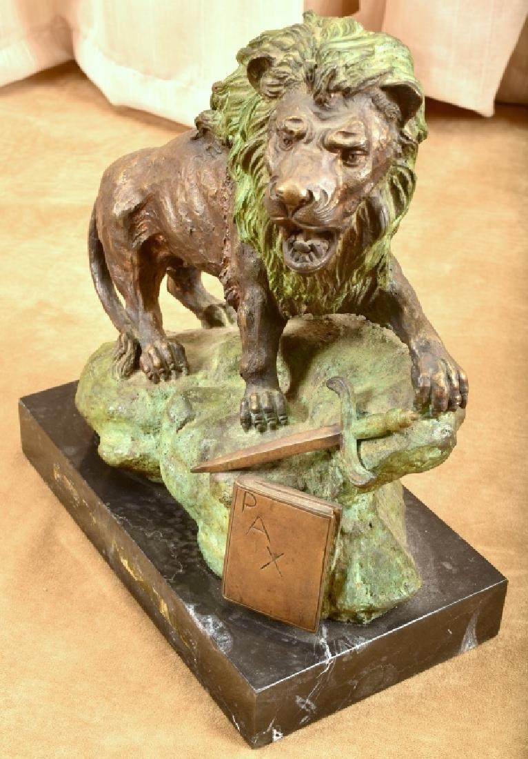 Ferdinando De Luca Bronze Lion Statue - 2
