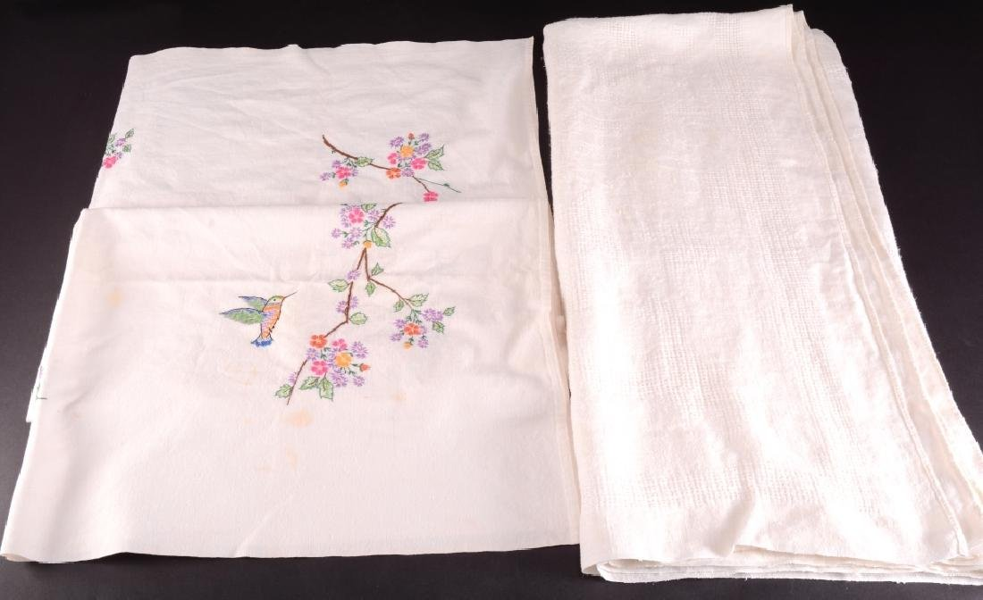 2 Cotton Embroidered & Open Needlework Tablecloths