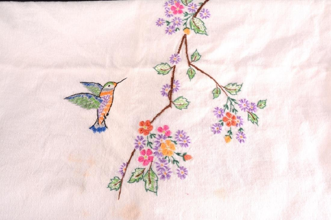 2 Cotton Embroidered & Open Needlework Tablecloths - 2