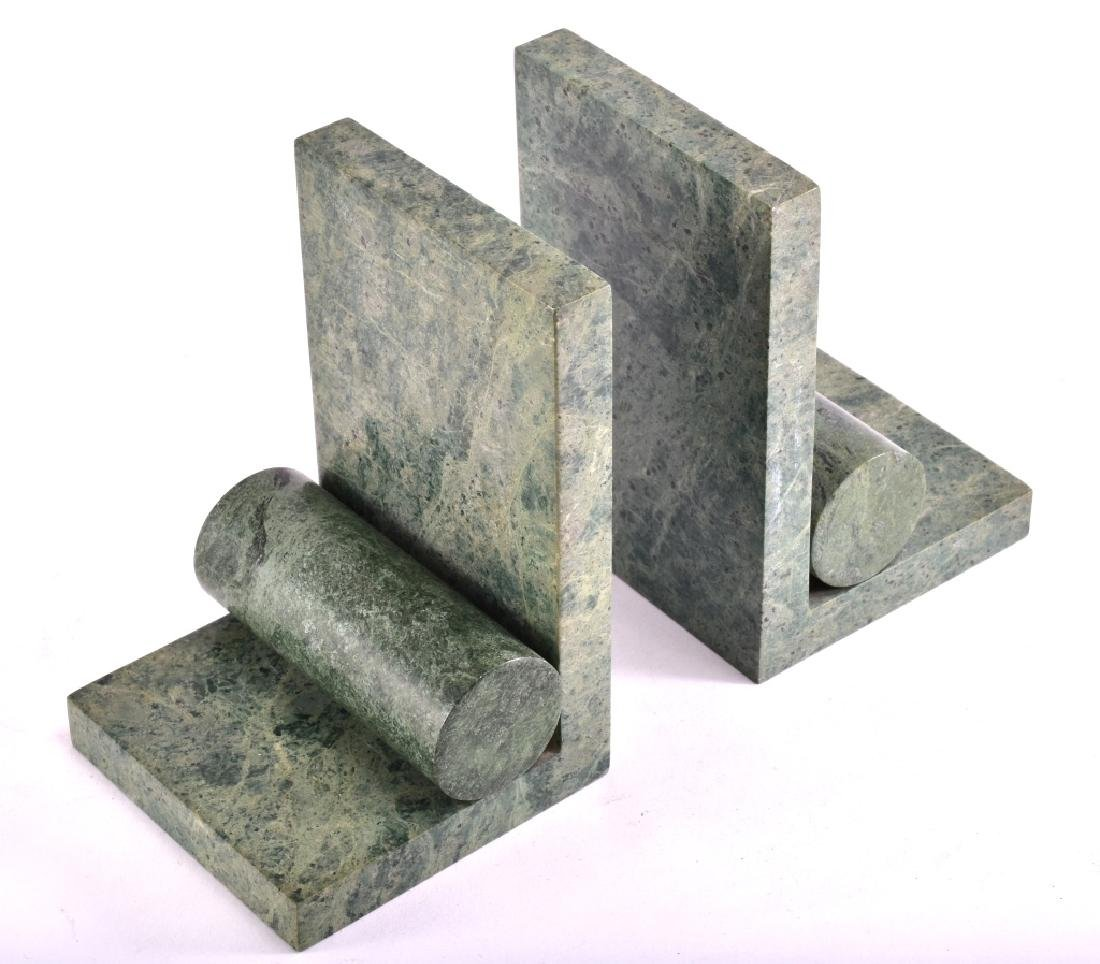Green Marble Cylinder Bookends