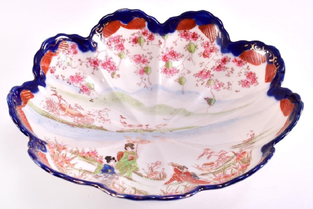 Japanese Geisha Scalloped Blue Edge Bowl - 2