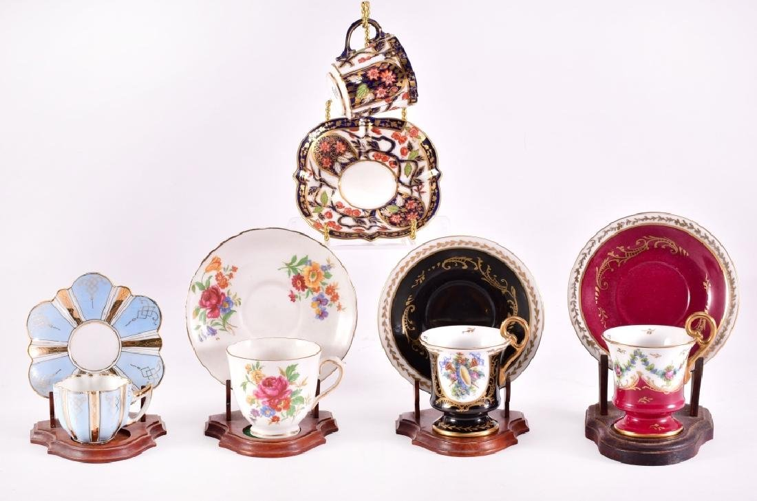 5 Demitasse Cup & Saucers w/Stands