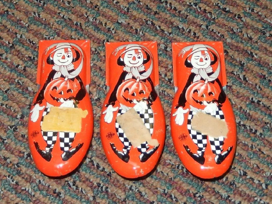 Vintage Tin Halloween Scarecrow Litho Clickers