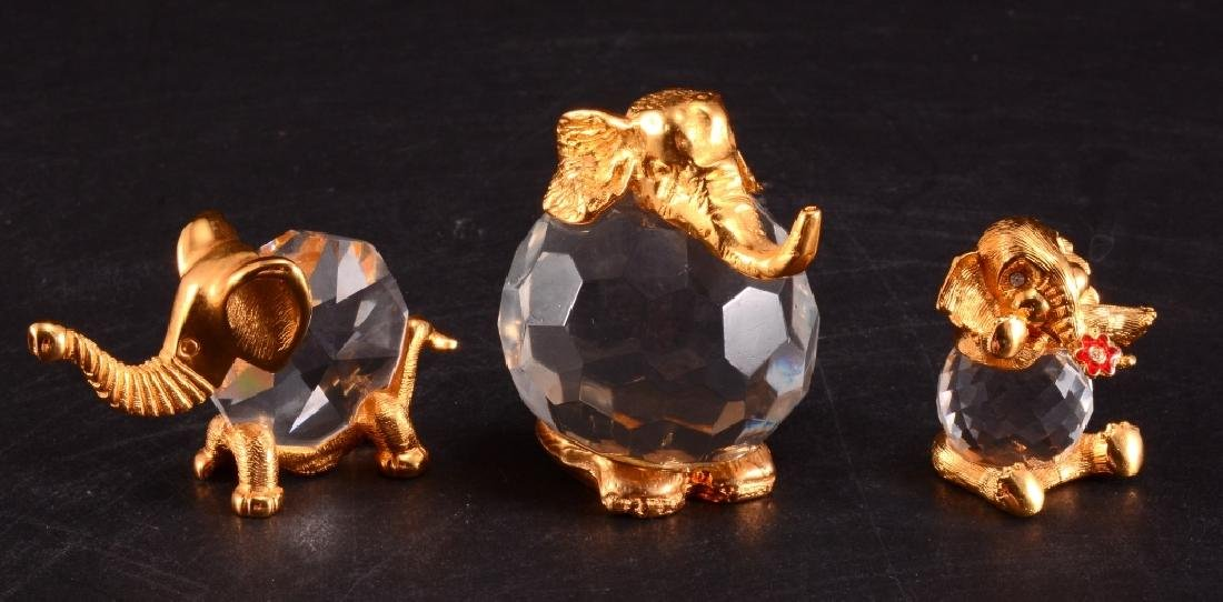 3 Brass & Crystal Elephant Figurines