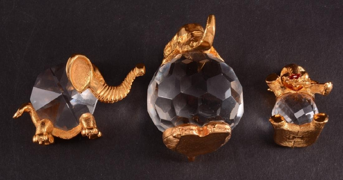 3 Brass & Crystal Elephant Figurines - 3