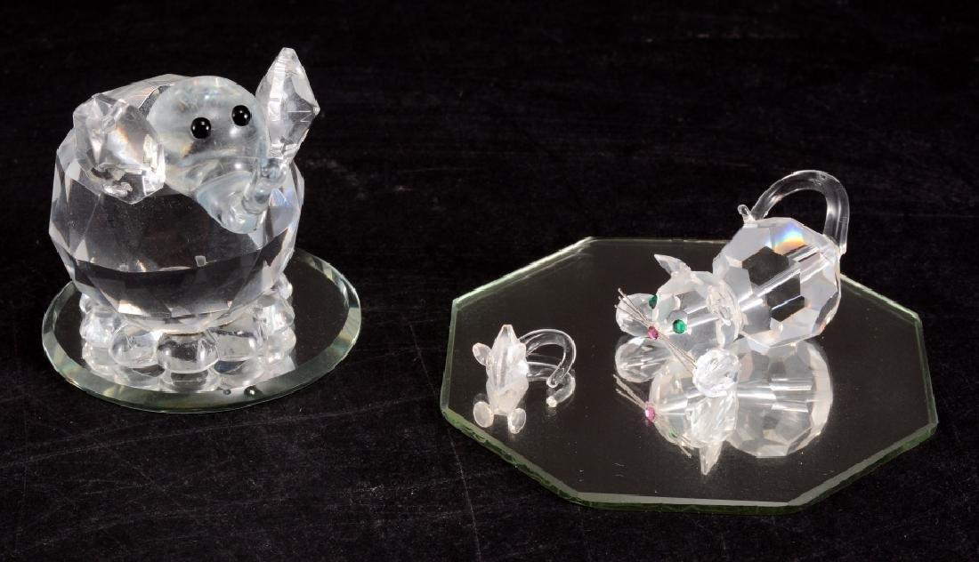 Cut Crystal Elephant, Cat & Mouse