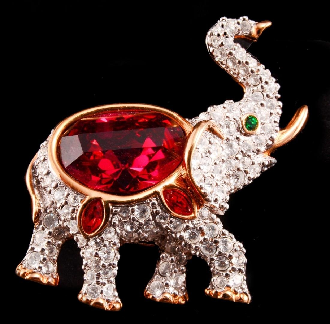 Swarovski Red Crystal Pave Elephant Brooch