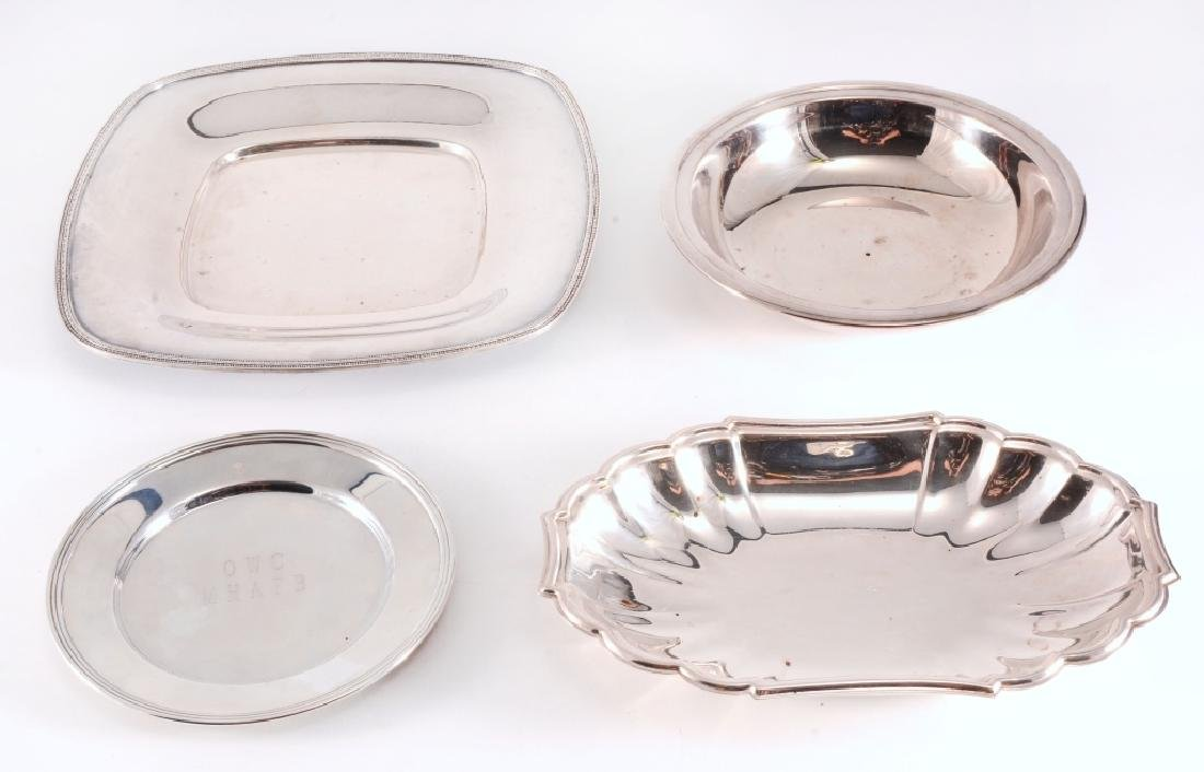 4 Silverplate Trays & Bowl