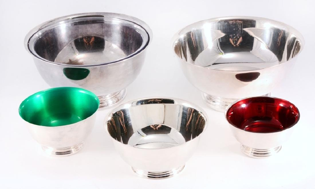 5 Silverplate Revere Bowls