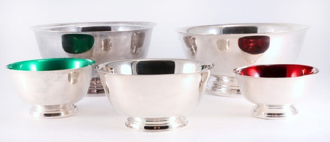 5 Silverplate Revere Bowls - 2