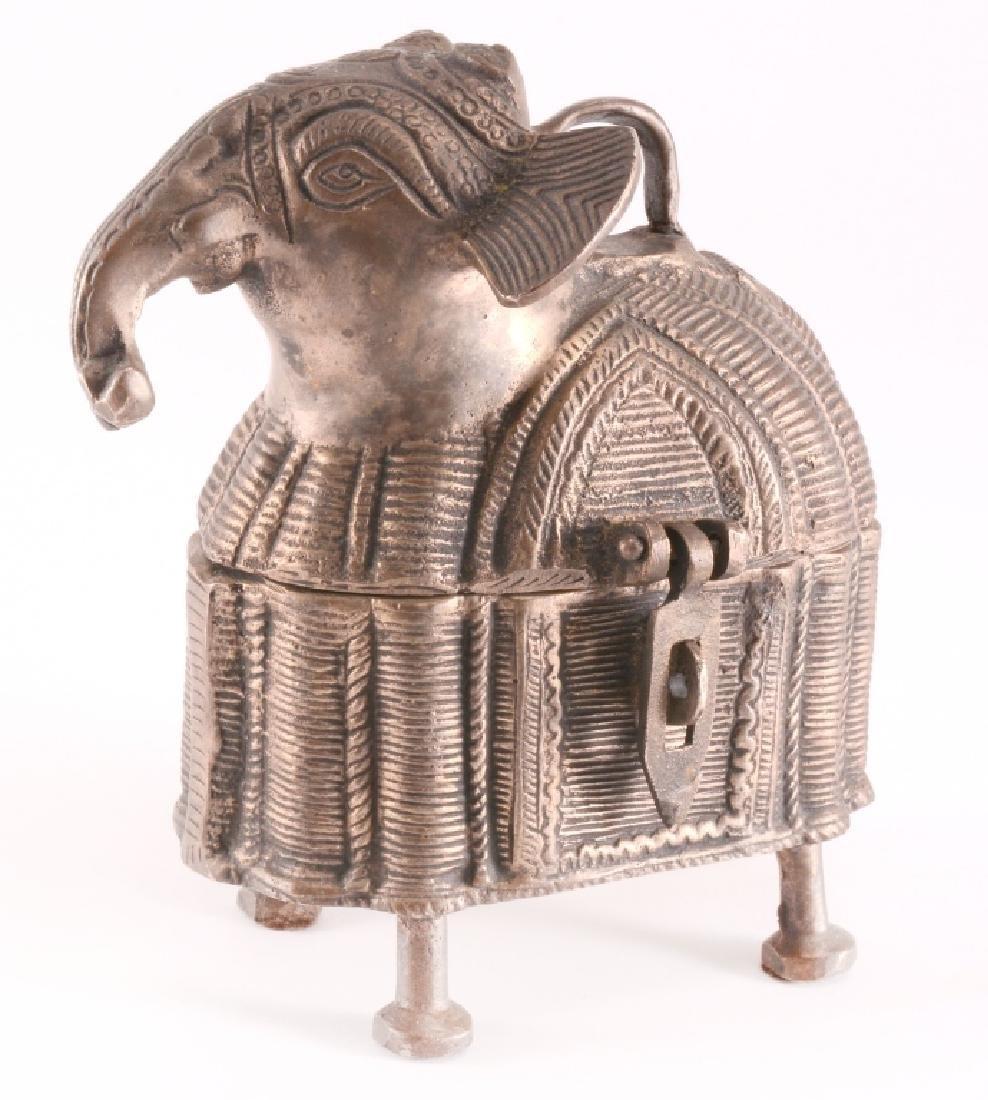 Vintage Brass DHOKRA Work Elephant Trinket Box