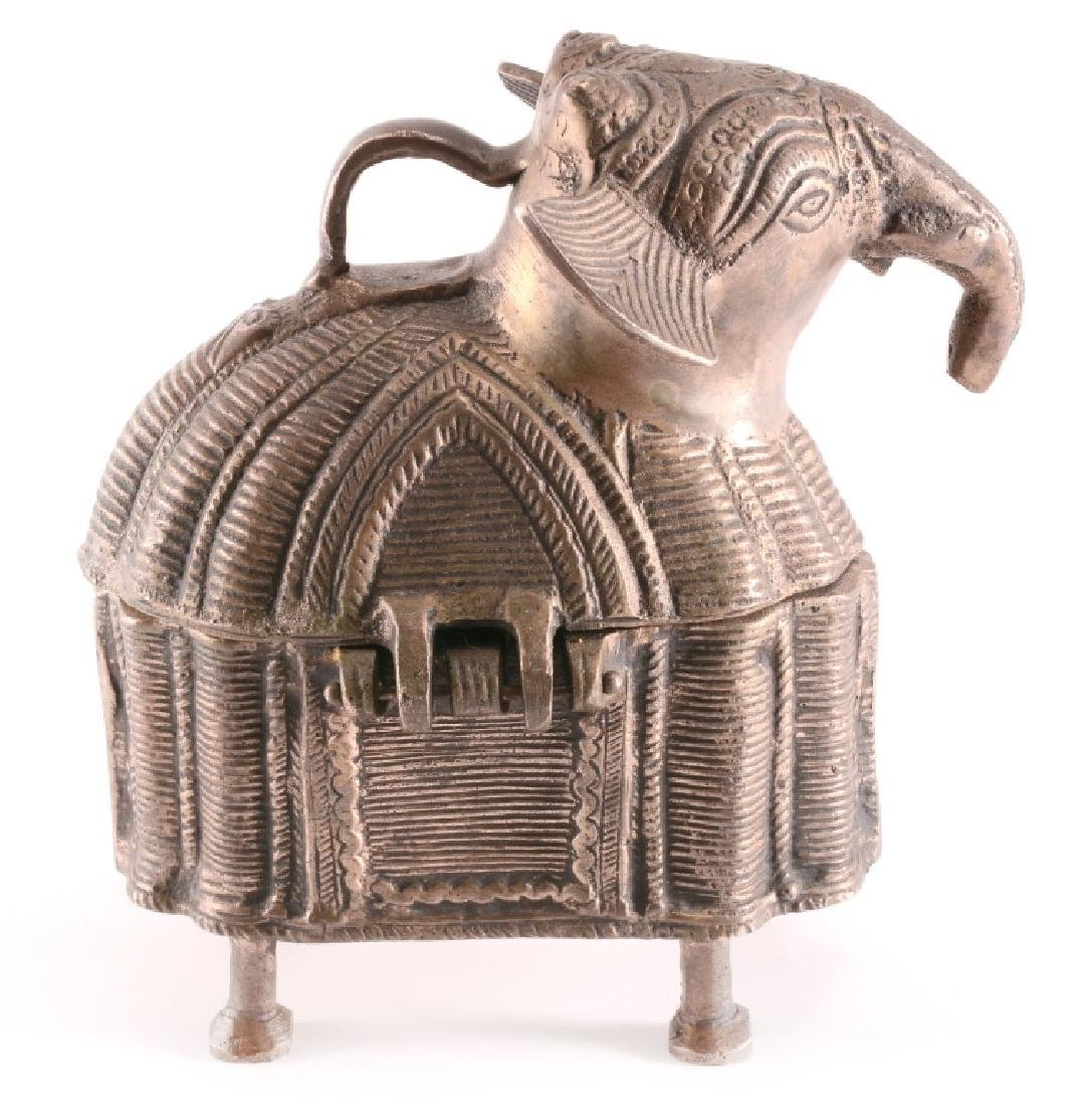 Vintage Brass DHOKRA Work Elephant Trinket Box - 2