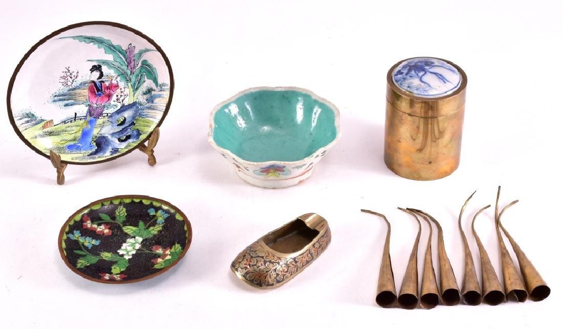 Brass, Ceramic & Enamel Pieces