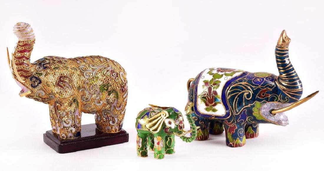 Enamel & Brass Elephant Figurines