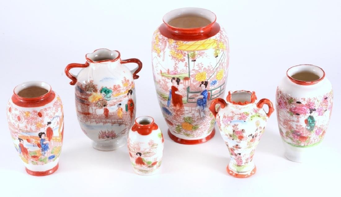 6 Red Japanese Geisha Vases