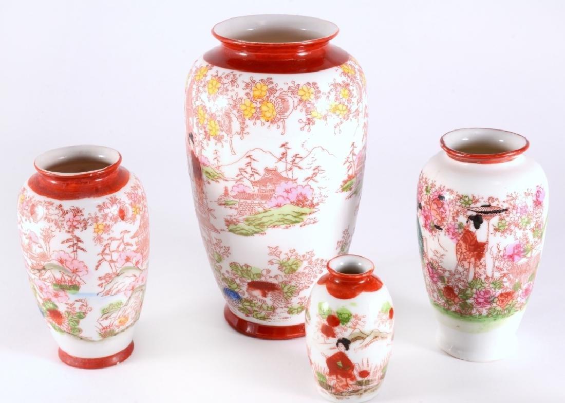 6 Red Japanese Geisha Vases - 2