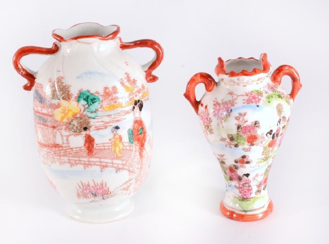 6 Red Japanese Geisha Vases - 3