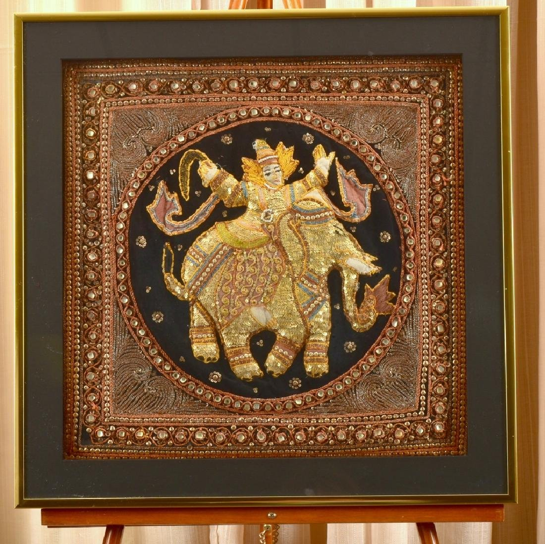 Old Burmese Kalaga Elephant Embroidered On Velvet