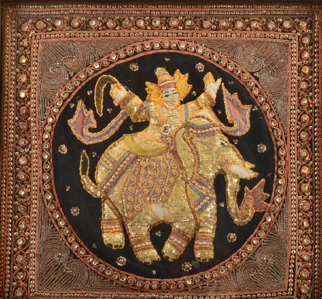 Old Burmese Kalaga Elephant Embroidered On Velvet - 2
