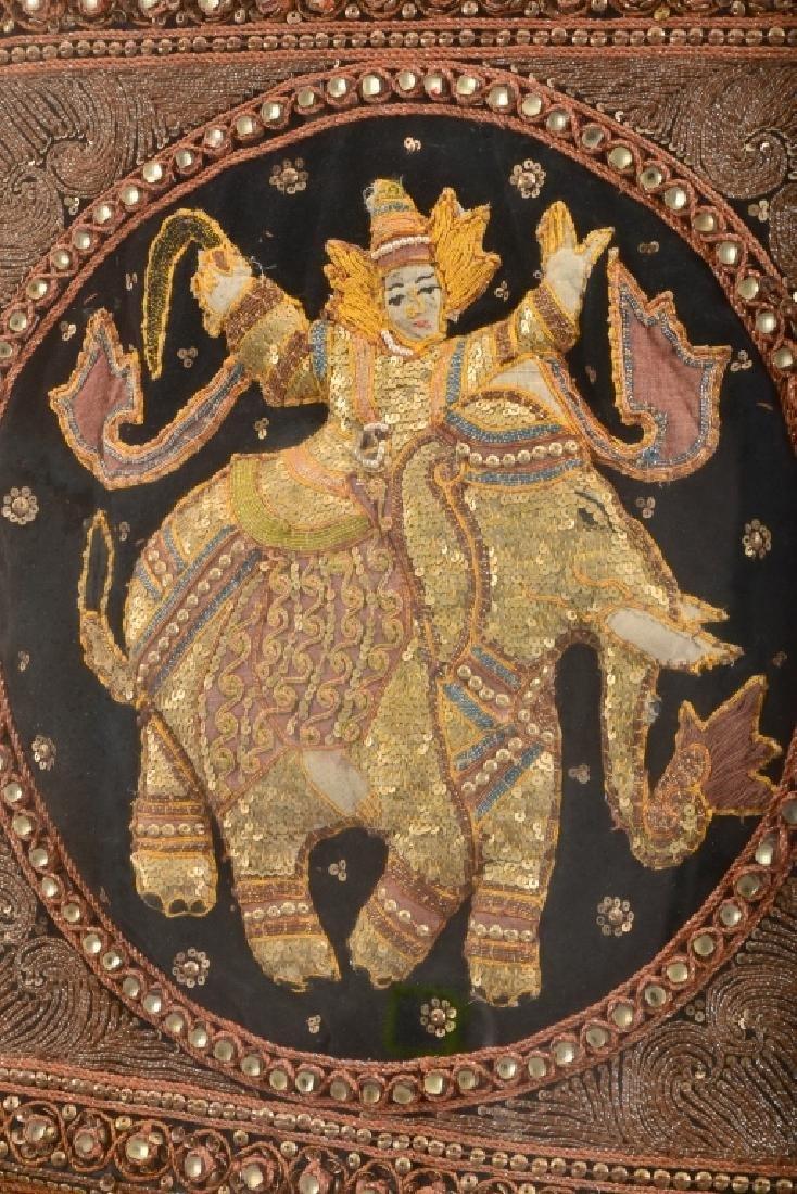 Old Burmese Kalaga Elephant Embroidered On Velvet - 3