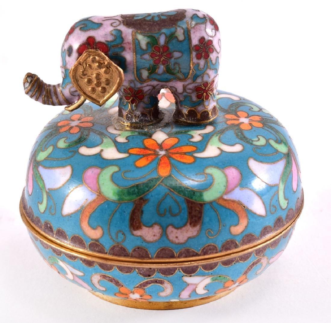Oriental Cloisonné Elephant Trinket Music Box - 3