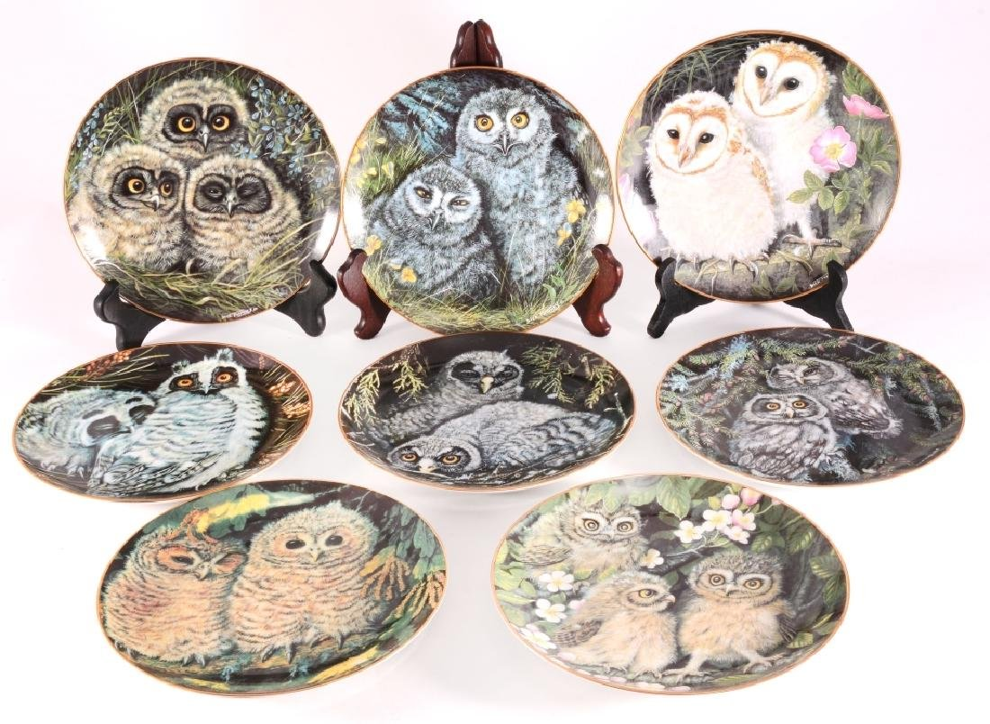 8 Collectible Baby Owl Collection Plates