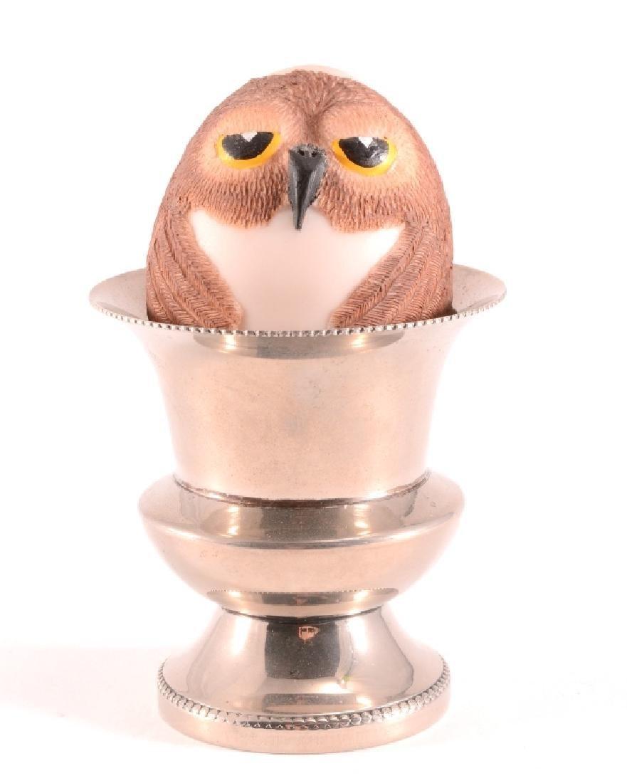 1986 Bristar Egg Owl Figurine & Silverplate Cup