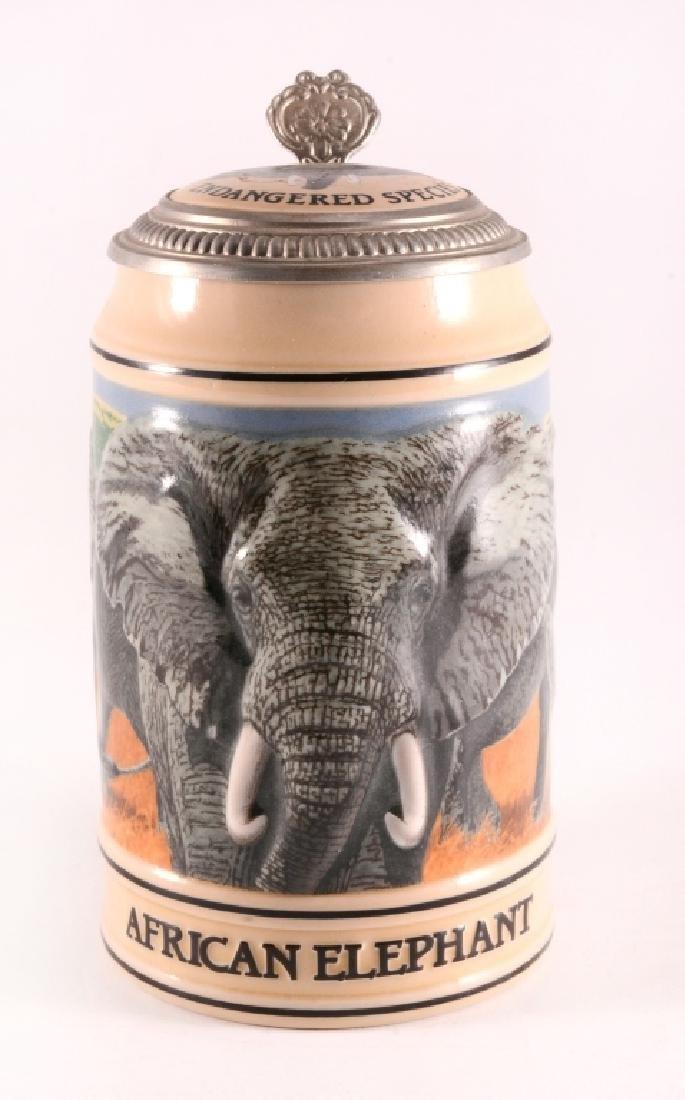 """Budweiser """"African Elephant"""" Stein w/Lid - 3"""