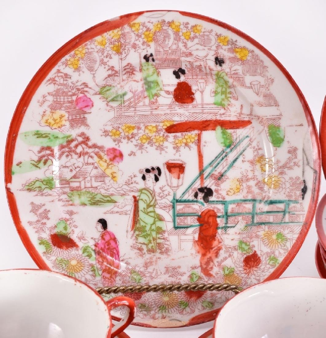 21 pcs. Red Japanese Geisha Plates & Cups - 3