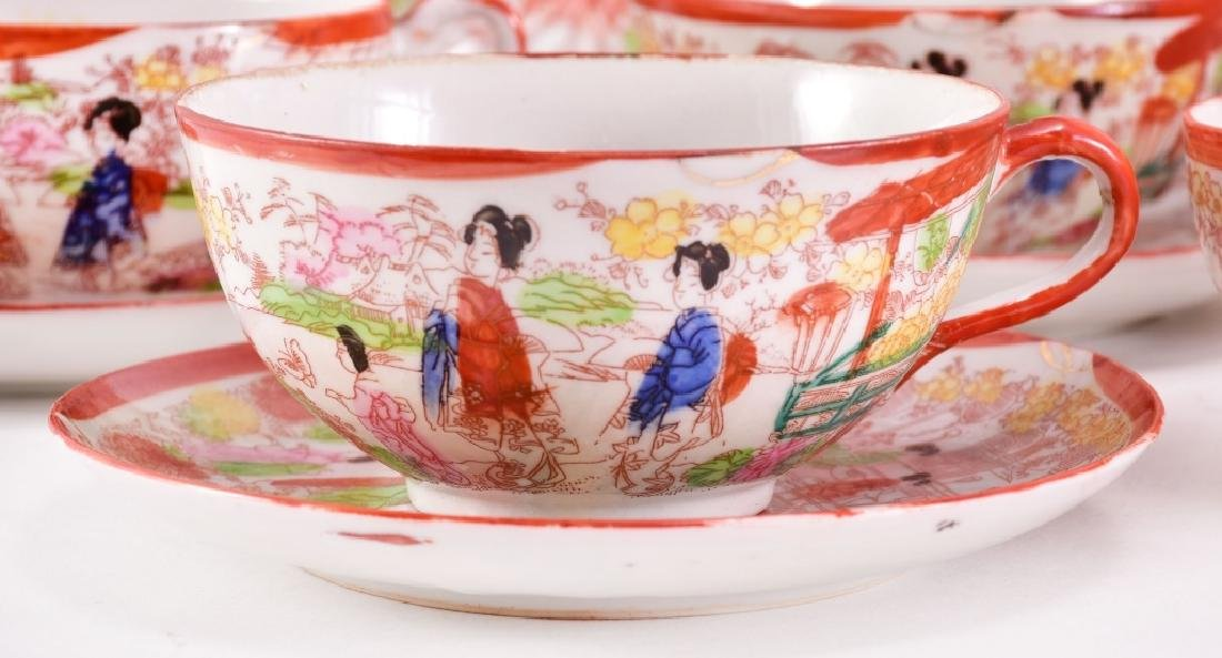 21 pcs. Red Japanese Geisha Plates & Cups - 5