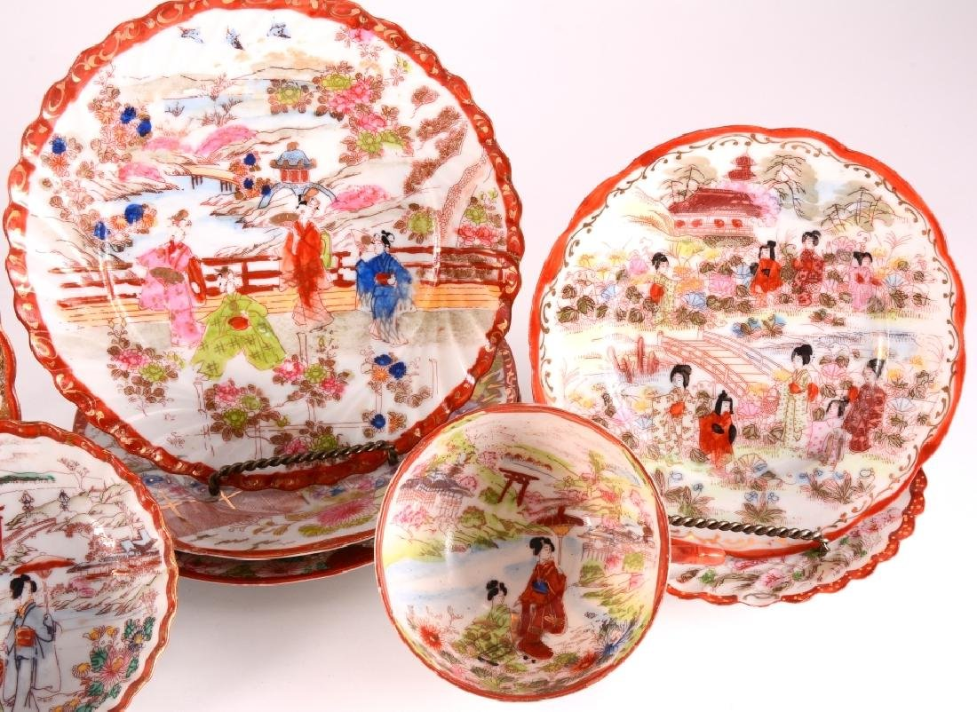 8 pcs Red Japanese Gold Trim Plates, Bowl & Cup - 3