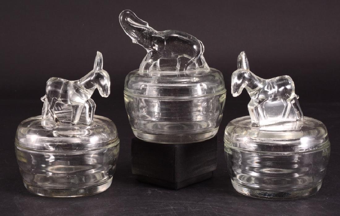 Glass Elephant & Donkeys Covered Powder Boxes - 2