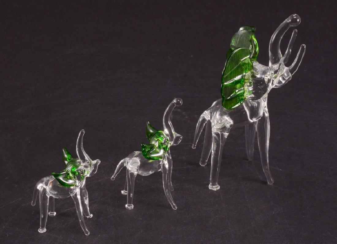 3 Hand Blown Glass Elephants w/Green Ears
