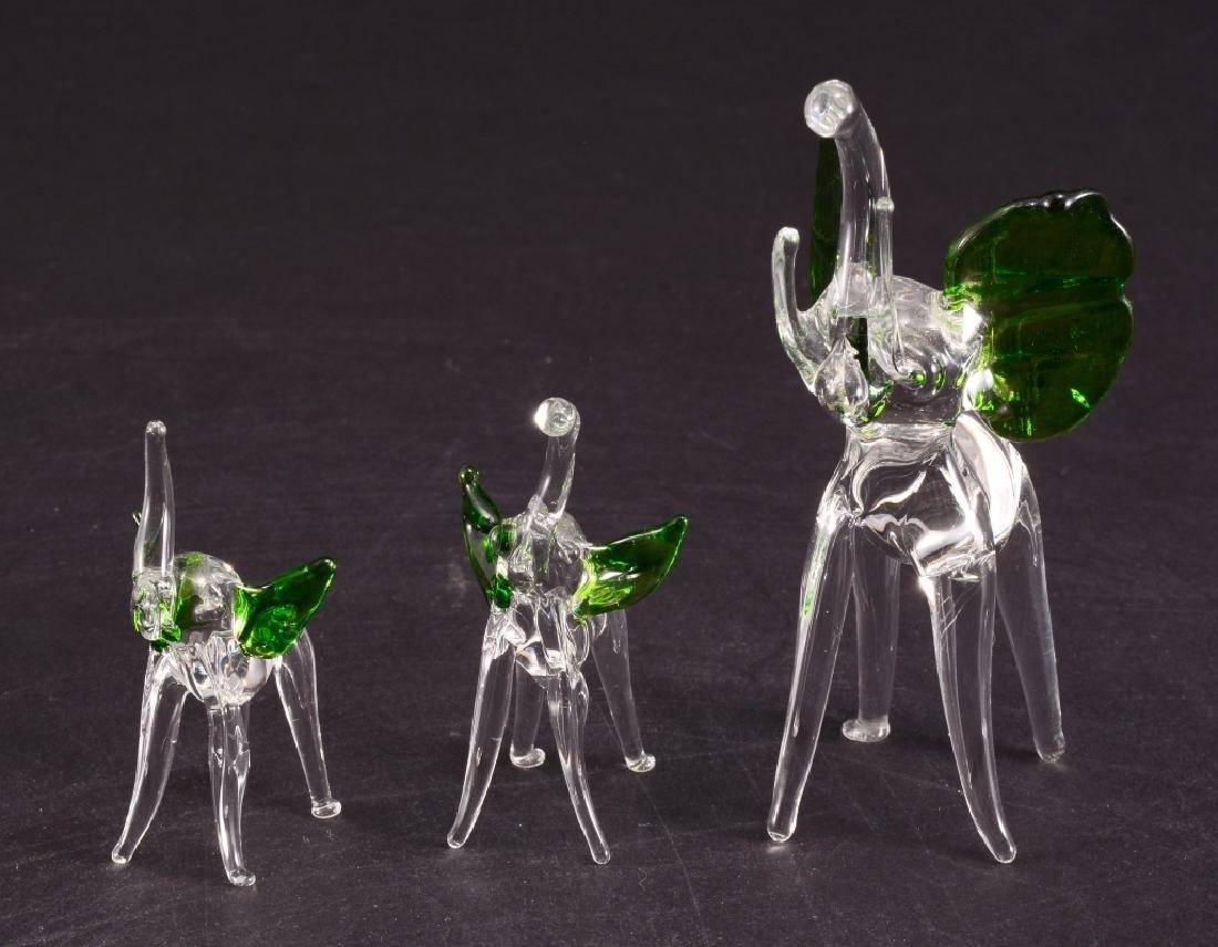 3 Hand Blown Glass Elephants w/Green Ears - 2