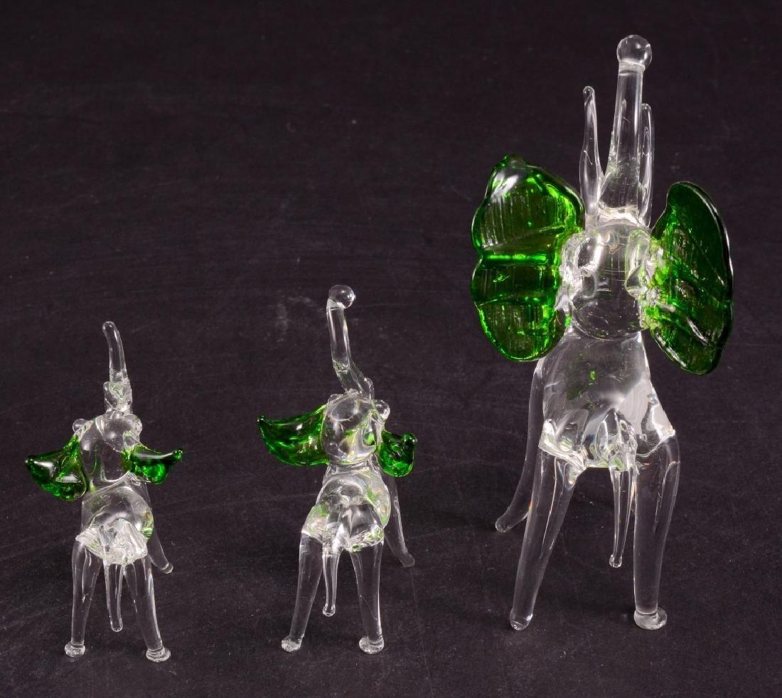 3 Hand Blown Glass Elephants w/Green Ears - 3